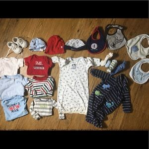 Newborn baby boy Lot bundle NB onesies pajamas